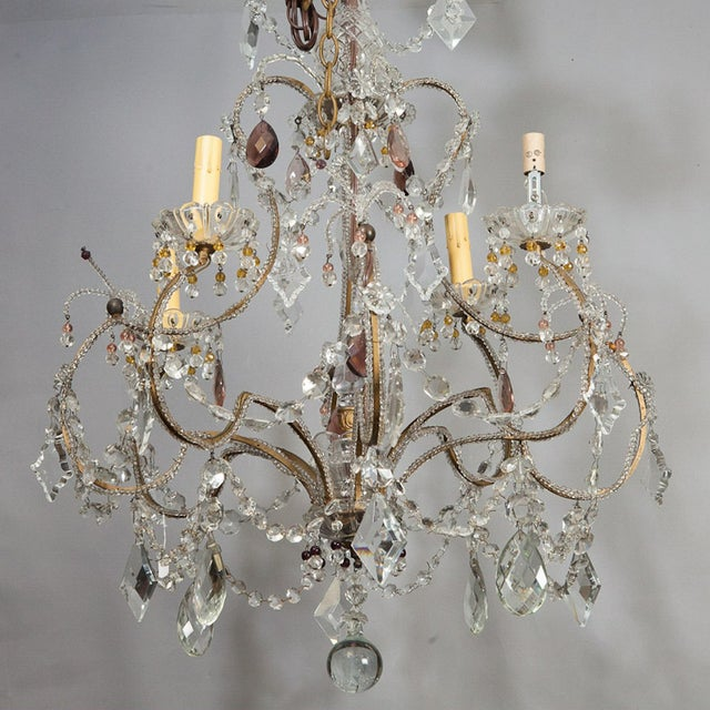 Image of Antique French 4-Light Crystal Beaded Chandelier