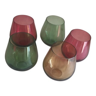 Jewel Toned Stemless Wine Glasses - Set of 5