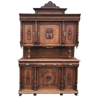Imported Belgium Carved Oak Cupboard