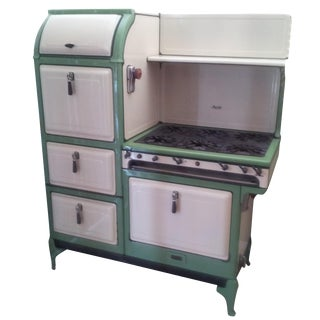 Green & White Antique Magic Chef Stove