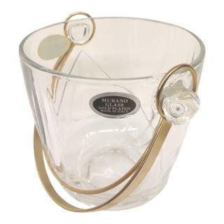 Vintage Italian Murano Glass Gold Plate Ice Bucket & Tongs