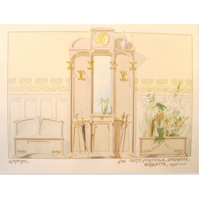 Image of Vintage French Decorator Sheet Interior/Coatrack