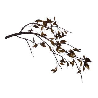 Mid-Century Modern Large C. Jere Style Leaves On Branch Wall Sculpture