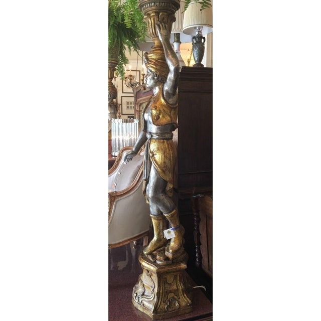 Pair of Huge Venetian Gilt-Wood Designer Blackamoor Plant Stands / Lamps - Image 6 of 6