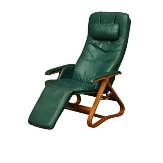 Westnofa-Style Green Leather Recliner