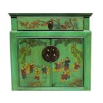 Image of Chinese Green End Table W/Kids Playing Graphic