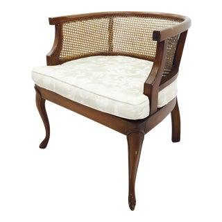 Vintage Mid-Century Cane Side Barrel Back Chair