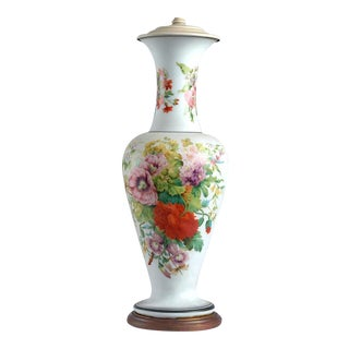 French Botanical Opaline Vase Mounted as Lamp, Circa 1860-85.