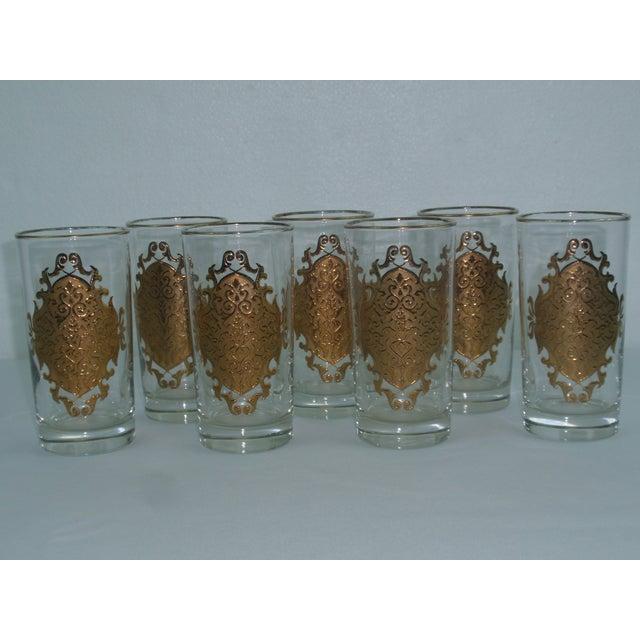 Hollywood Regency Gold Gilt Hi Ball Glasses - S/7 - Image 3 of 6