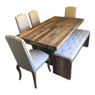 West Elm Reclaimed Wood Dining Table W/Bench & 4 Pottery Barn Chairs - Set of 6