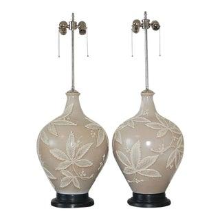 Italian Ceramic Lamps on Mahogany