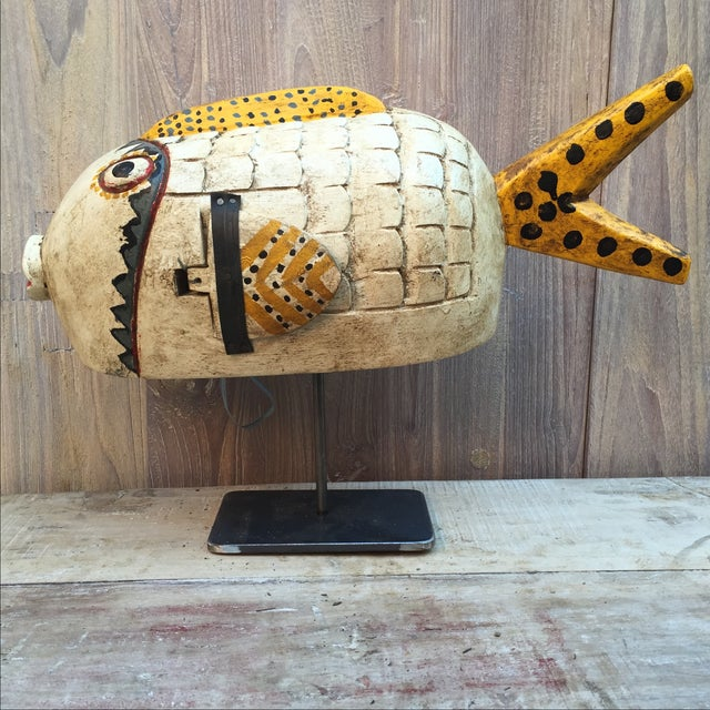 Vintage Fish Puppet on Iron Stand - Image 2 of 6