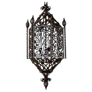 French Wrought Iron 3-Light Lantern With Finials