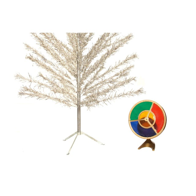 6 Foot Aluminum Christmas Tree with Color Wheel Light - Image 3 of 7