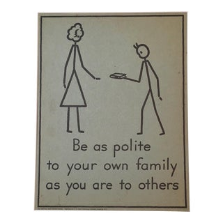 "Vintage 1940's Double-Sided ""Good Manners"" Stick Figure Poster"