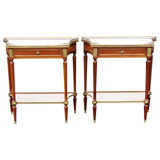 Jansen Style Marbletop Brass Mounted Stands - A Pair