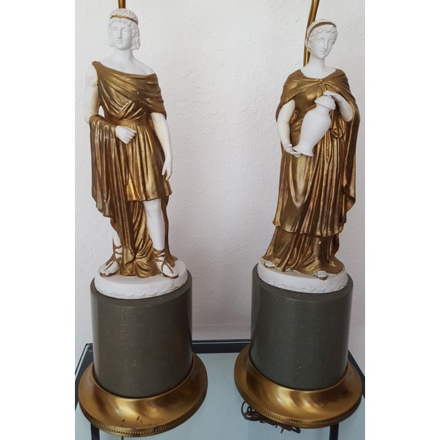 Image of 1960 Gilded Bisque Roman Figural Lamps - Pair