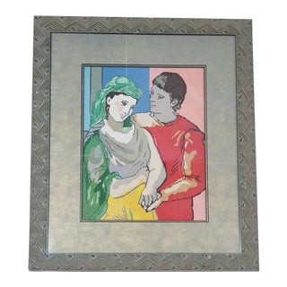 Picasso Man & Woman Framed Needlepoint