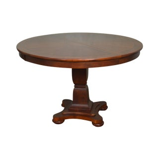 "Lexington 48"" Round Cherry Empire Style Dining Table w/ Leaf"