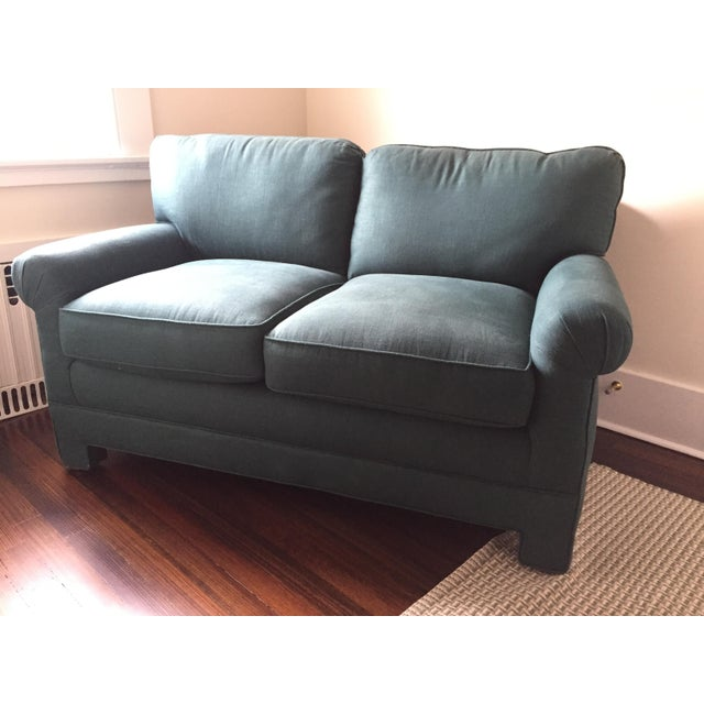 Rolled Arm Forest Green Linen Loveseat - Image 2 of 7