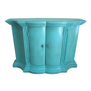 Vintage 1960's Turquoise Mini-Credenza/Cabinet