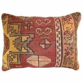 Orange Vintage Carpet Lumbar Pillow