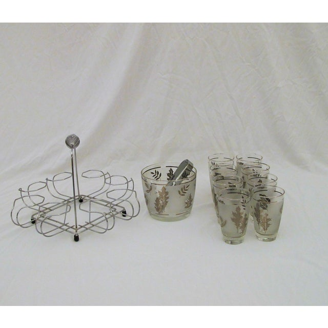 1960's Glasses Ice Bucket And Carrier Set - Image 3 of 5