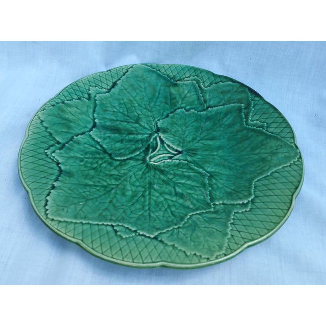 Image of Victorian Green Ivy Majolica Plates - Set of 6