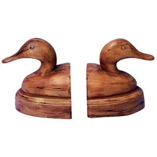 Modern Duck Head Marble Bookends - Signed