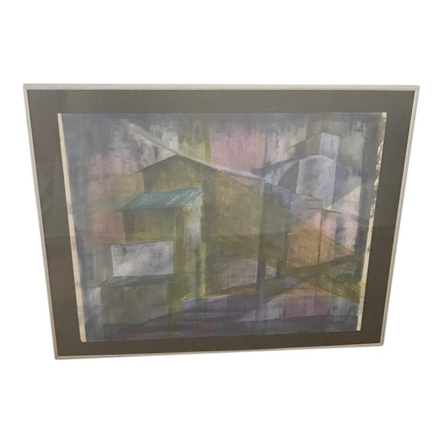 Mid-Century Cubist Abstract Painting - Image 1 of 7