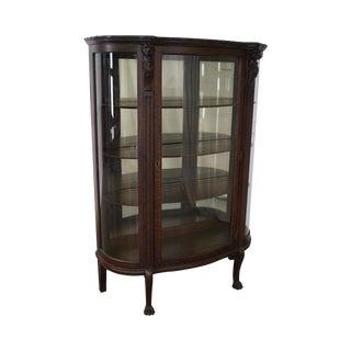 Antique Oak Bowed Glass China Curio Cabinet