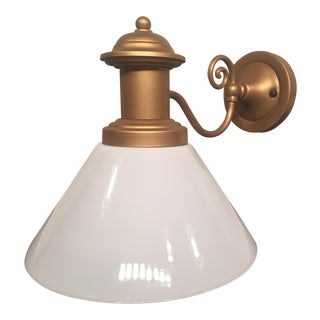 Vintage Restored Bronze & Glass Wall Sconce