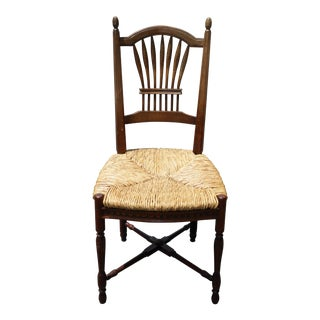 Vintage French Country Rush Rye Seat Side Chair