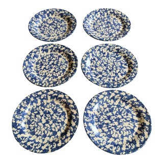 Vintage Ceramic Spongeware Plates - Set of 6