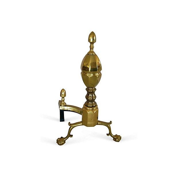 1950s French-Style Brass Andirons - Image 4 of 7
