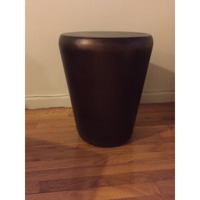 Crate & Barrel Bronze Drum End Table - Image 3 of 6