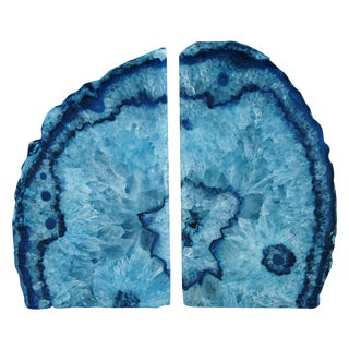 Deep Blue Crystal Rock Geode Bookends