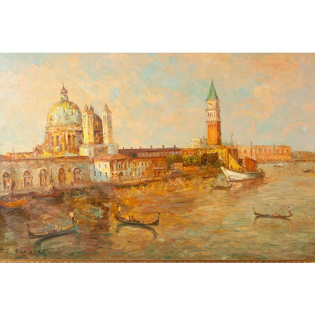 Oil Painting of Venice Harbor by T.L. Novaretti - Image 6 of 9