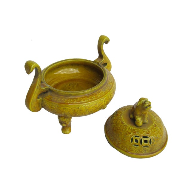 Chinese Yellow Glaze Ceramic Incense Burner - Image 4 of 6