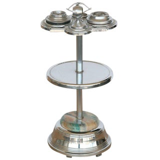 PLEASE UPDATE WITH CORRECT DIMENSIONS. Chrome Art Deco Two Tier Ashtray Stand with Electric Lighter