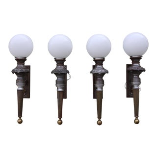 1930's French Bronze Sconces - 4