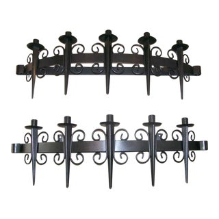 Gothic Black Iron Vintage Candle Sconces - A Pair