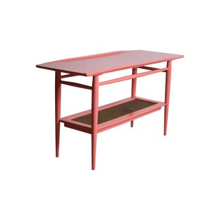 Concave Top Coral Console Table with Wicker