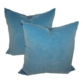 Pair of Light Blue Velvet Pillows