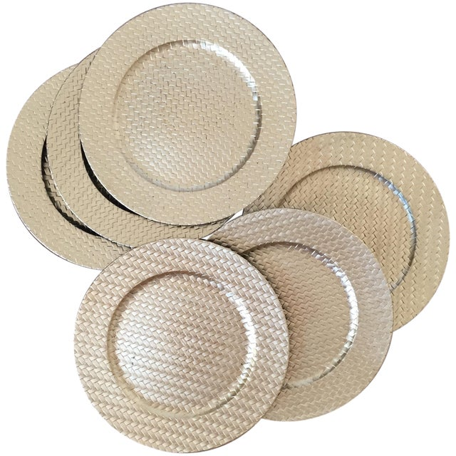 Gold Woven Plastic Charger Plates - Set of 6 - Image 1 of 4
