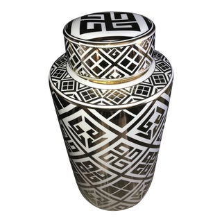 Stunning Large White & Gold Geometric Ginger Jar