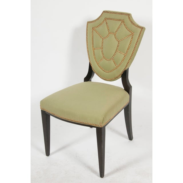 Upholstered Shield Back Chair With Nailhead Trim - Image 2 of 3