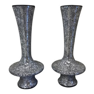 Monumental Mirrored Tile Mosaic Urns - A Pair
