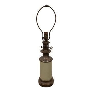 Green Porcelain & Brass Table Lamp