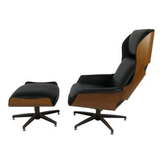 "Rare Ultra-Mod Walnut Plycraft ""Mister"" Chair and Ottoman"